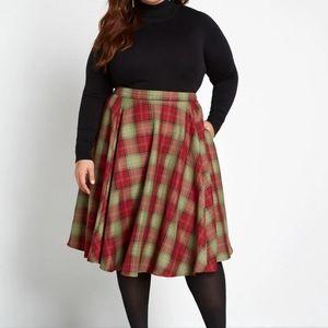 Modcloth Swing This Way Plaid Pocket Midi Skirt 16